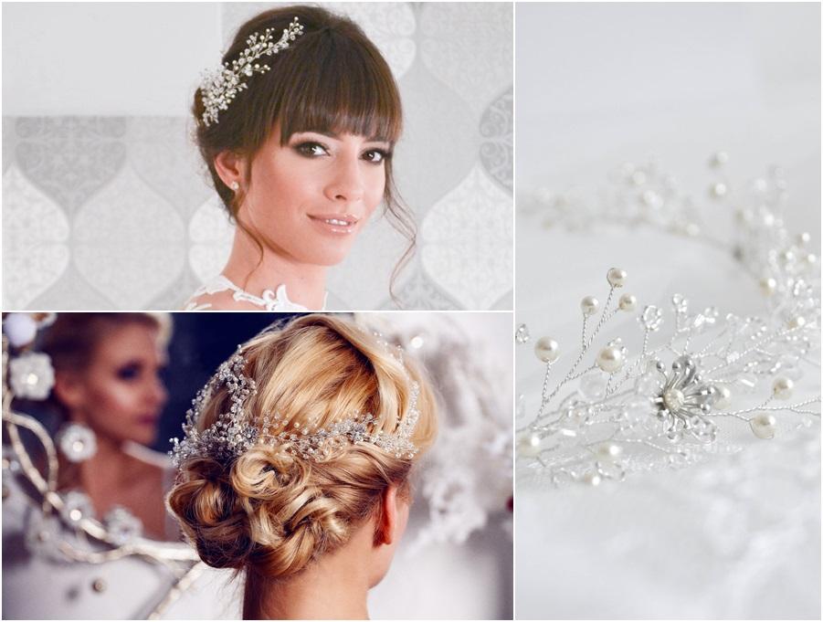 Szedra fejdísz: Esküvő Trend Esküvői magazin fotózásán készült  (bal felső kép) Forever wedding photography (bal alsó kép